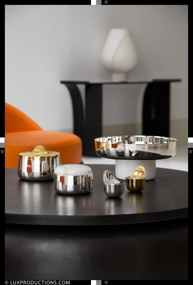 La première collection d'Eric Schmitt pour Christophle : métal argenté, laiton et albâtre, 2015.