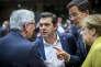 Jean-Claude Junker, Alexis Tsipras, Mark Rutte et Angela Merkel participent à la deuxième journée du Sommet des chefs d'Etat et de gouvernement au Conseil européen à Bruxelles, Belgique, jeudi 17 mars 2016 - 2016©Jean-Claude Coutausse / french-politics pour Le Monde