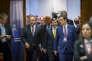 Le premier ministre turc, Ahmet Davutoglu, lors d'un Conseil européen à Bruxelles le 17 mars.
