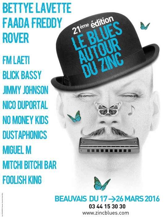 Affiche du festival Le Blues autour du zinc, à Beauvais, jusqu'au 26 mars.