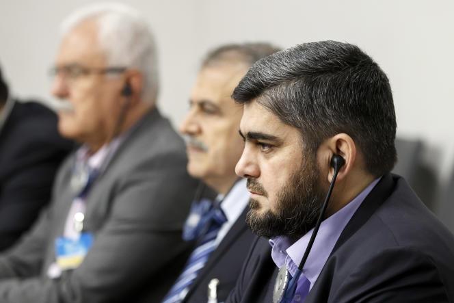 Mohamed Allouche– ici, le 18 mai 2016 à Genève– dirige Jaïch Al-Islam, un groupe rebelle syrien d'obédience salafiste soutenu par l'Arabie saoudite, un des plus influents mouvements rebelles en Syrie.