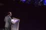François Hollande, président de la République, prononce ses voeux à la jeunesse et aux forces de l'engagement dans le Grand auditorium de Radio France à la Maison de la Radio à Paris, lundi 11 janvier 2016.