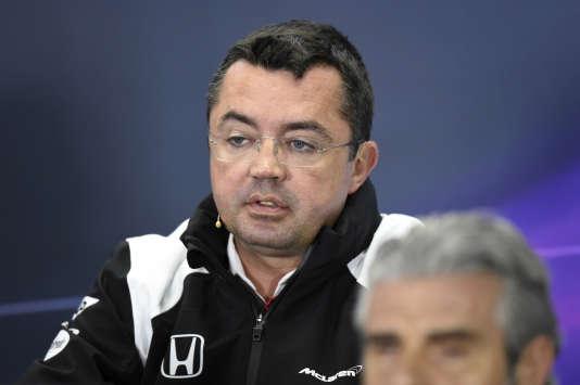 Le Français Eric Boullier, directeur sportif de l'écurie McLaren, vendredi 18 mars à Melbourne.