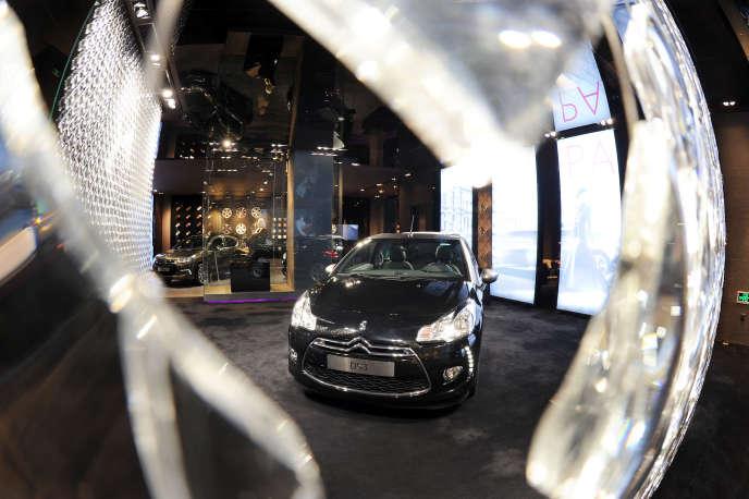 La Citroën DS3 exposée dans un showroom en Chine.