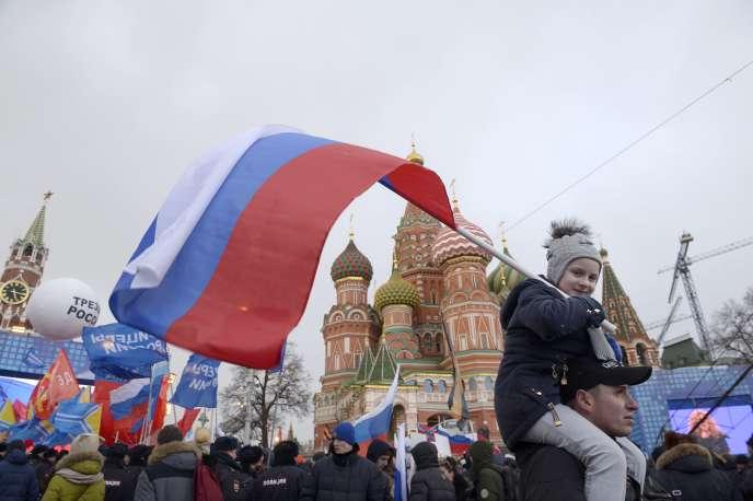 Une manifestation dans le centre de Moscou le 18 mars 2016 pour fêter les deux ans d'annexion de la Crimée.