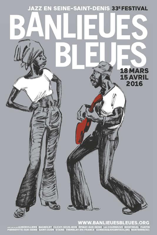 Affiche de la 33e édition du festival Banlieues bleues, organisé du 18 mars au 15 avril.