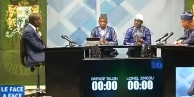 Patrice Talon et Lionel Zinsou sur le plateau de la télévision nationale du Bénin, le 17 mars 2016 lors du débat de l'entre-deux tours de la présidentielle.