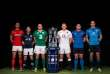 2016 RBS 6 Nations Rugby Championship Launch, The Hurlingham Club, Ranelagh Gardens, London 27/1/2016 Wales captain Sam Warburton, Scotland captain Greig Laidlaw, Ireland captain Rory Best, England captain Dylan Hartley, France captain Guilhem Guirado and Italy captain Sergio Parisse with the RBS 6 Nations trophy Mandatory Credit ©INPHO/James Crombie