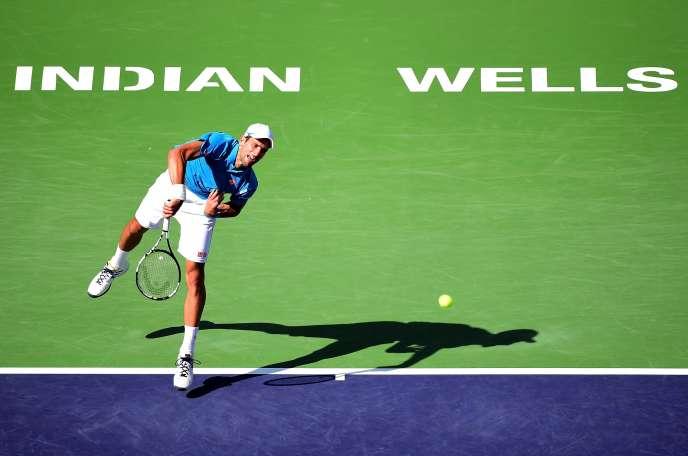 Novak Djokovic lors de son match face à Rafael Nadal en demi-finale du tournoi d'Indian Wells, le 19 mars.