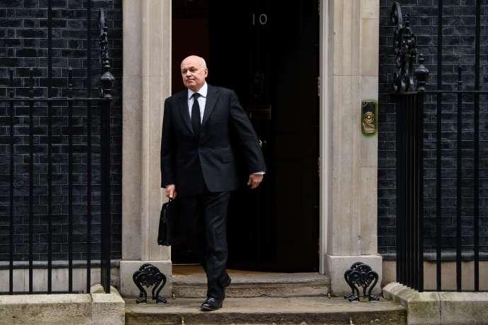 L'ancien ministre du travail Iain Duncan Smith, à Londres, le 18 mars, jour de sa démission du gouvernement.