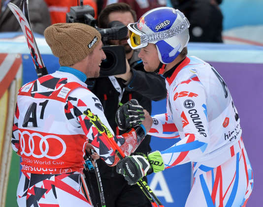 Marcel Hirscher (à gauche) et Alexis Pinturault, le 28 février 2016 à Hinterstoder, en Autriche.
