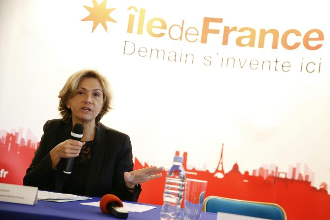 Valérie Pécresse, la présidente de la région Ile-de-France, lors d'une conférence de presse, à Paris, le 21mars.