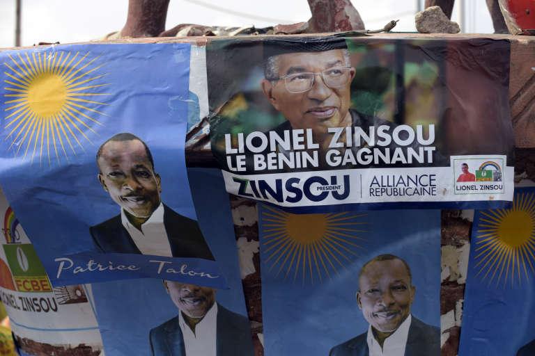 Affiches de campagne de Patrice Talon et de Lionel Zinsou pour l'élection présidentielle béninoise de 2016.