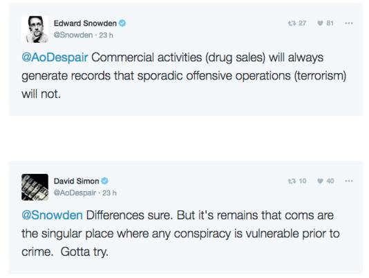 Pendant une heure, Edward Snowden et David Simon ont échangé leur conception de la sécurité et de la surveillance des télécommunications.