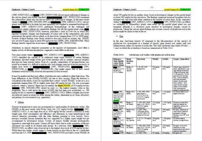 Exemple de double-page, tiré du pré-rapport d'évaluation du glyphosate, rendu par l'institut fédéral d'évaluation du risque (BfR) d'Allemagne.