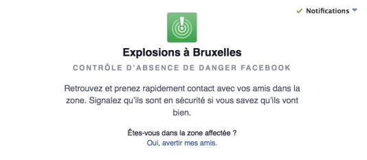 Le «Safety Check» de Facebook déployé après les attentats en Belgique, mardi 22 mars.