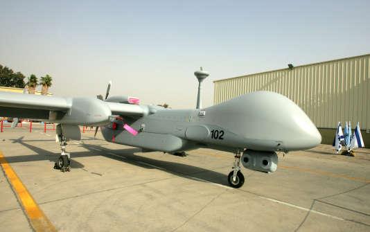 Un drone israélien Heron présenté à la base aérienne de Tel Nof, près de Tel-Aviv, le 8 octobre 2007.