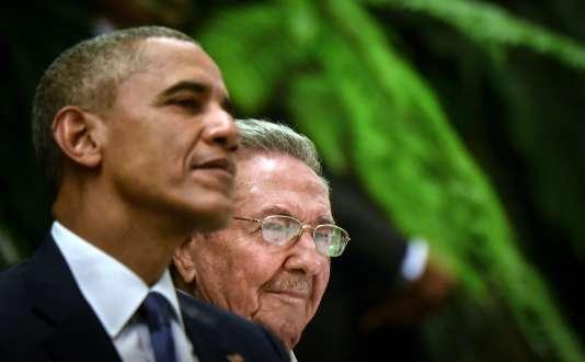 Le président Raul Castro et Barack Obama lors d'un dîner d'Etat, à La Havane, le 21mars 2016.