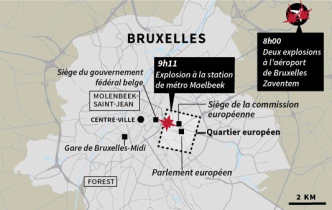 Carte de situation de Bruxelles et l'aéroport de Bruxelles-Zaventem, le mardi 22 mars.