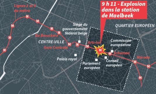 Le quartier européen de Bruxelles, où a eu lieu une explosion dans la station de métro de Maelbeek, mardi 22 mars.