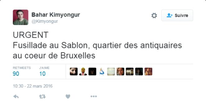 Tweet relayant une rumeur erronée de fusillade quartier du Sablon.