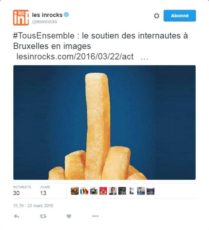 Image très utilisée comme symbole de solidarité après les attaques en Belgique, qui provient en fait d'une campagne publicitaire de Burger King.
