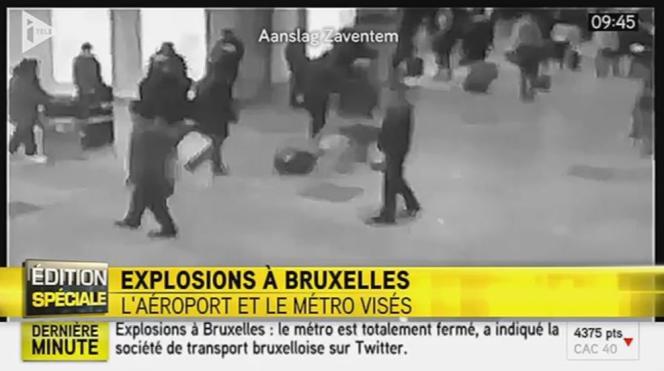 Fausse image de l'explosion à Bruxelles diffusée par iTélé, montrant en réalité une explosion à l'aéroport de Moscou.