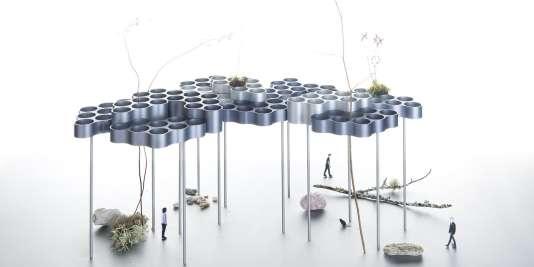 """Jardin flottant avec cette toiture de modules """"nuages"""", aux alvéoles remplies de terre, """"Rêveries urbaines"""", Les Champs Libres, 2016."""