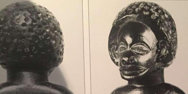 Statuette féminine, bois, patine sombre, musée du Dundo.