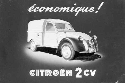Une affiche publicitaire pour la 2 CV en 1955.