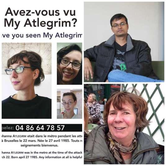 Les photos de personnes disparues publiées par leurs proches sur les réseaux sociaux après les attentats du 22 mars à Bruxelles.