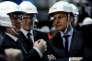 Le ministre de l'économie, Emmanuel Macron, visite la centrale nucléaire deCivaux (Vienne), le17mars.