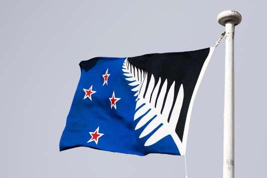 L'autre drapeau présentait la fameuse fougère argentée de l'équipe championne du monde de rugby des All Blacks sur un fond bleu, conservant les quatre étoiles de la Croix du Sud.