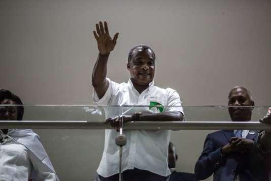 Denis Sassou Nguesso le 24 mars à Brazzaville après l'annonce de sa réélection.