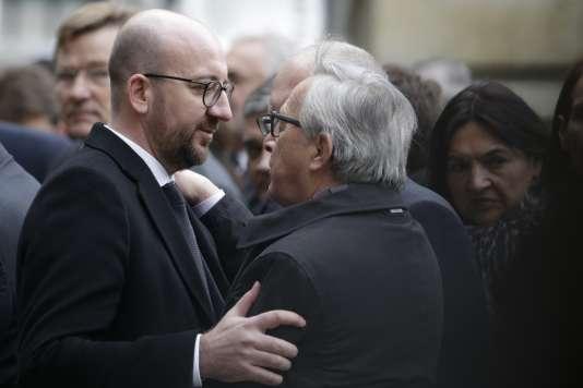 Le premier ministre belge Charles Michel et le président de la Commission européenne Jean-Claude Juncker le 24 mars à Bruxelles.
