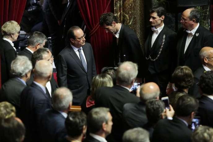 rançois Hollande devant le Congrès réuni à Versailles après les attentats, le 16 novembre 2015.