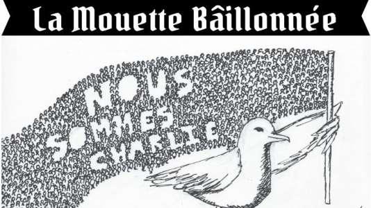 """Dessin de """"La Mouette bâillonnée"""" après les attentats contre """"Charlie Hebdo"""" de janvier 2015."""
