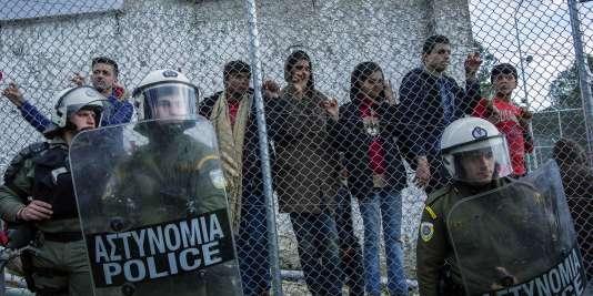 Le 24 mars, sur l'île grecque de Lesbos.
