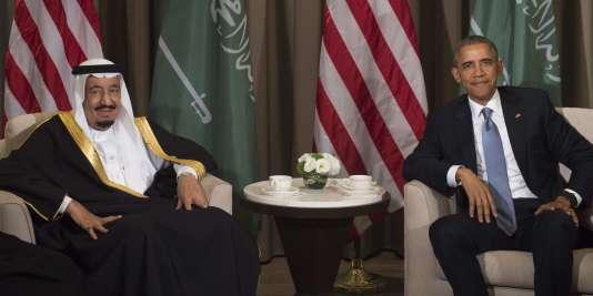 Le roi d'Arabie saoudite, Salmane ben Abdelaziz Al Saoud, et le président américain Barack Obama, le 15 novembre 2015.