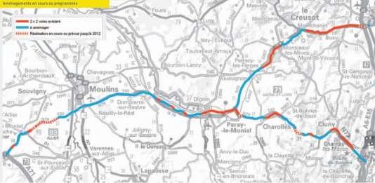 Les aménagements prévus (carte datant de 2004).