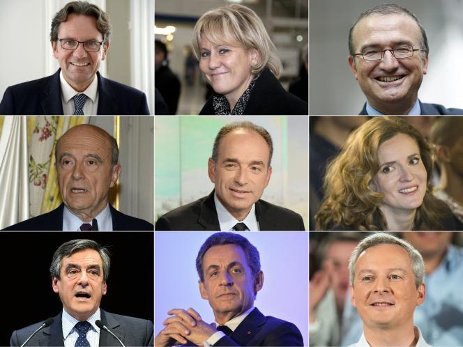 Neuf des candidats déclarés ou non à la primaire de la droite pour la présidentielle de 2017. Sources : BERTRAND GUAY, PASCAL PAVANI, THOMAS SAMSON, JEAN-PIERRE MULLER, PIERRE ANDRIEU, JOEL SAGET, STEPHANE DE SAKUTIN, JEAN-FRANCOIS MONIER, SEBASTIEN BOZON / AFP