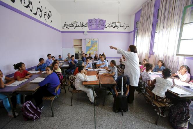 Une classe de l'école primaire Oudaya à Rabat en septembre 2015.