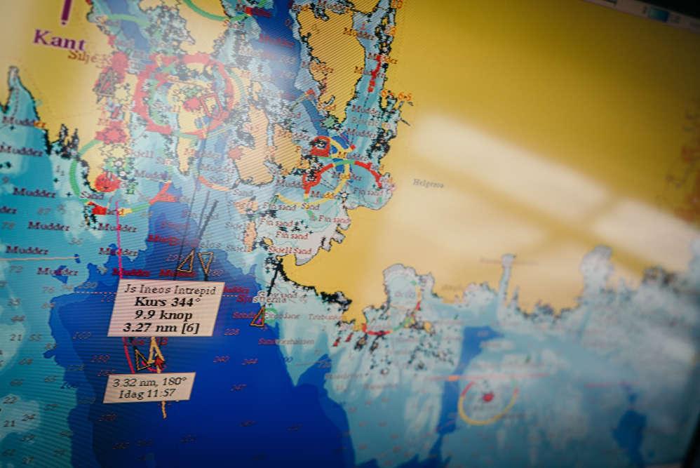 """Les données GPS à l'arrivée de """"l'Intrepid"""" au terminal de Rafnes en Norvège. Le 23 mars."""