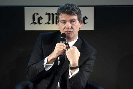 """Arnaud Montebourg, invité du Club de l'économie du """"Monde"""", vendredi 25 mars à Paris."""