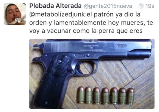 Une menace de mort reçue par Andrea Noel sur son compte Twitter, après la médiatisation de agression.
