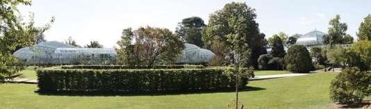 Le futur court de Roland-Garros et les serres prévus par l'architecte Marc Mimram (mise en perspective Cyrille). A droite, les serres historiques de Jean-Camille Formigé.