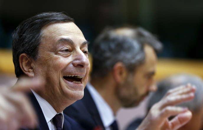 Le président de la Banque centrale européenne, Mario Draghi, à Bruxelles, le 15 février.