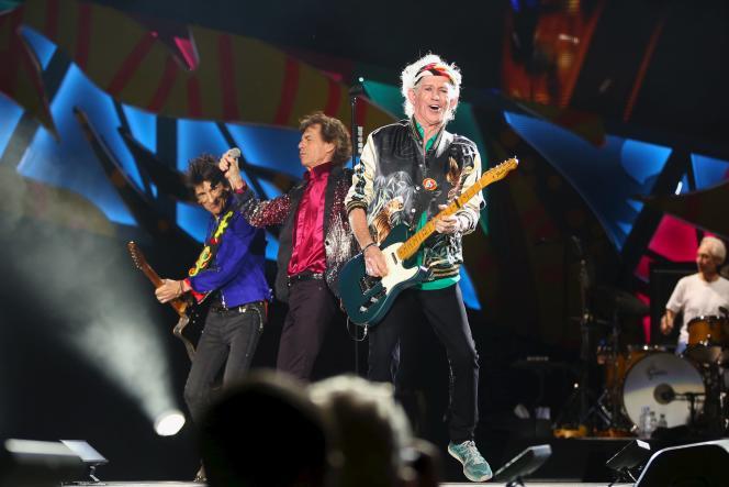Keith Richards, Mick Jagger, Ronnie Wood et Charlie Watts, lors de leur concert à La Havane le 25 mars 2016.