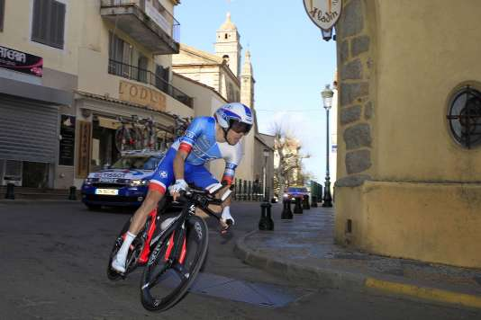 Le cycliste Thibaut Pinot le 26 mars à Porto Vecchio (Corse).