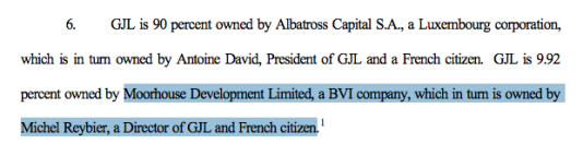 Extrait d'un document mis en ligne par le ministère des transports américain, mentionnant Moorhouse Development Limited.